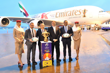 Emirates Airlines transports Rugby World Cup trophy from Dubai to Tokyo