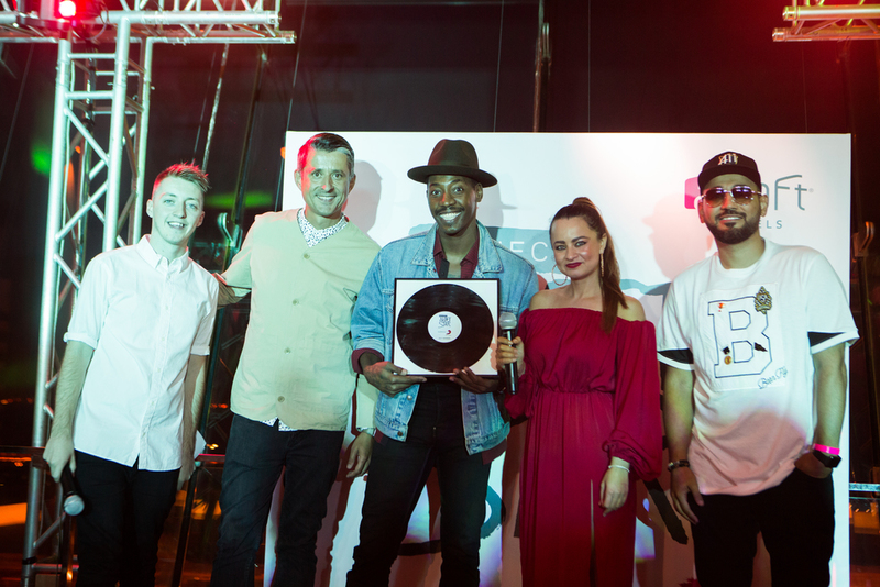 The UAE's 'Project: Aloft Star' winner Stephon LaMar (centre) with  (left to right) Virgin Radio's James, Sony Music Entertainment Middle East general manager Mike Fairburn, Maz from Virgin Radio and DJ Bliss.