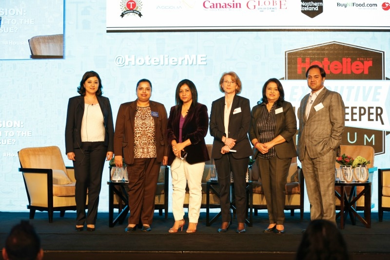"""Members of the panel discussion tackling """"What's the Solution to the Casual Staff Issue?"""" at the 2017 Hotelier Executive Housekeeper Forum included (from left to right)  Grand Hyatt Doha executive housekeeper Marjona Aslitdinova, who also moderated the panel; Radisson Blu Hotel, Dubai Deira Creek executive housekeeper Sheeja Sasidharan; Crowne Plaza and Holiday Inn Al Thuraya City, Kuwait cluster director of housekeeping Akshi Singh;Grand Hyatt Dubai housekeeping manager – functional specialist housekeeping Tatjana Ahmed;Movenpick Hotel & Apartments Bur Dubai executive housekeeper Tahera Sultan and Fraser Suites Dubai executive housekeeper Minar Aliyar."""