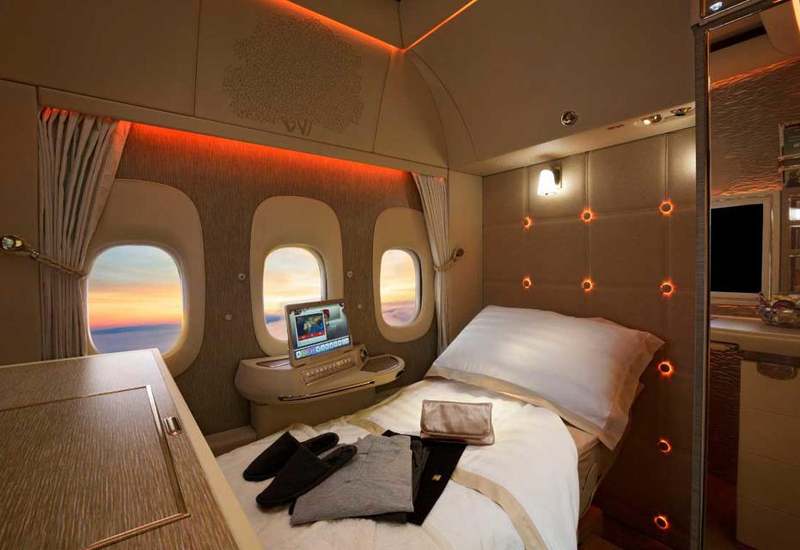 The new first class cabins on Emirates Boeing 777-300ER aircraft .