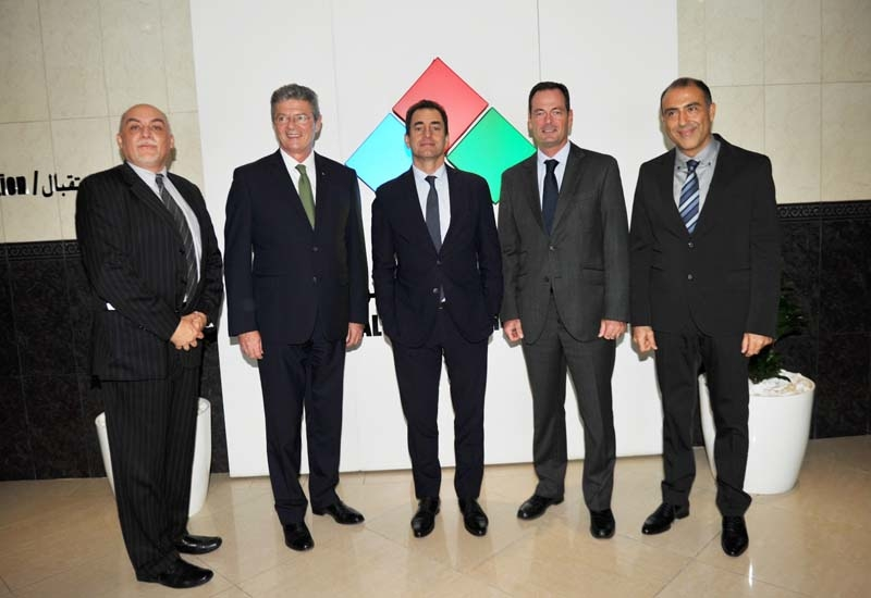 Thierry Szewc, GM of Mercure Grand Hotel Doha City Centre; Mr Christophe Landais, COO of AccorHotels Middle East, H.E. the French Ambassador to Qatar Eric Chevallier; Olivier Granet, SVP of development at AccorHotels Middle East; Camille E. Aoun, director of business development at Al Jassim Group.