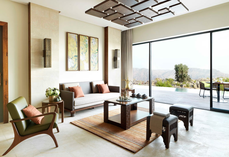 Inside the Cliff Pool Villa at Anantara Al Jabal Al Akhdar.