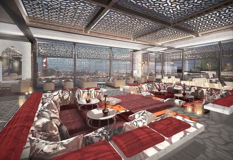 A render of the Arjaan Marrakech Rooftop lounge