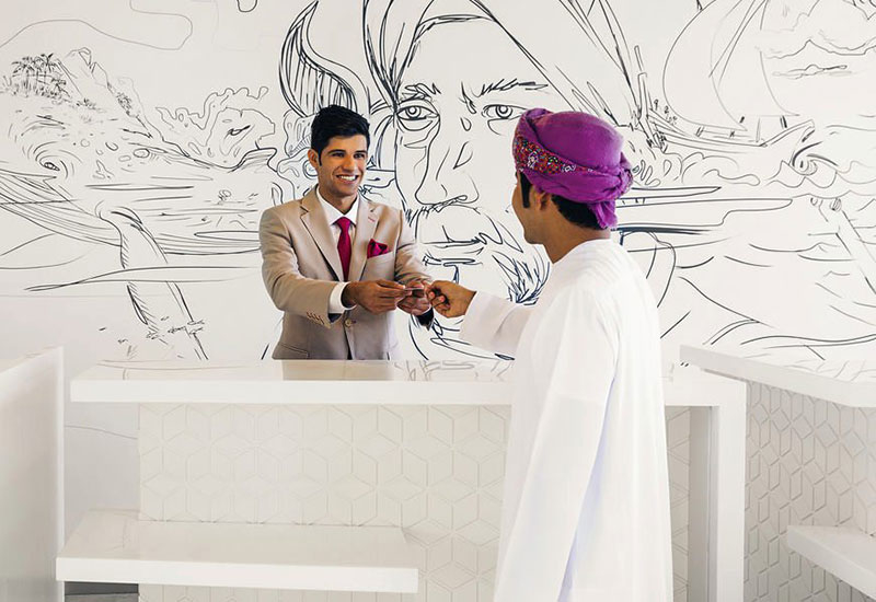 'Sindbad the Sailor' art wallpaper by Lama Khatib Daniel, commissioned by Capsule Arts for Mercure Sohar, Oman.