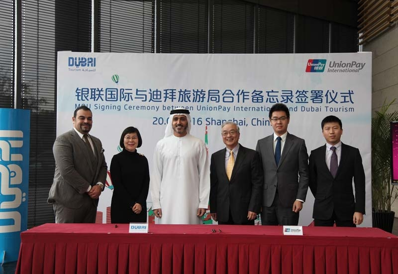 Dubai Tourism's Issam Kazim at the UnionPay signing ceremony in China.