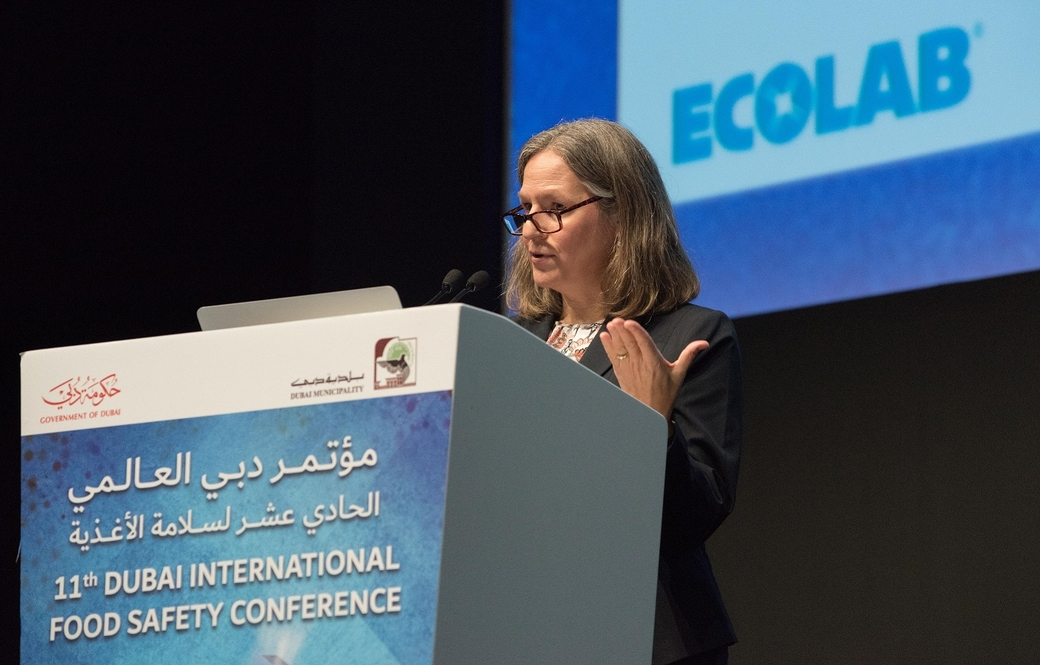 Dr. Ruth Petran addresses industry leaders at Dubai International Food Safety Conference.