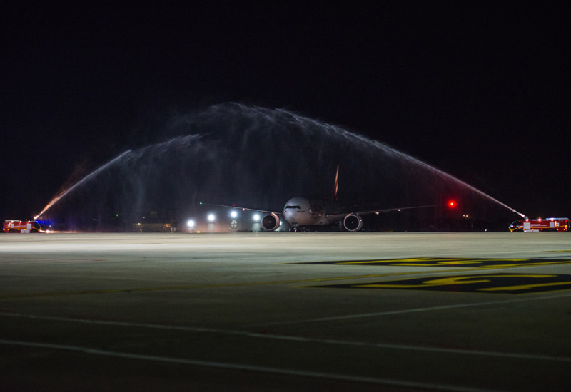 The aircraft was greeted in Phnom Penh by a traditional water cannon salute upon arrival.