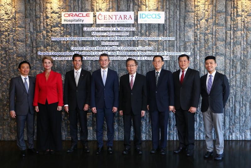 (left to right) Robert Chong, Oracle, senior director of sales (S.E. Asia  and Korea); Rachel Grier. IDeaS Revenue Solutions managing director Asia; Markland Blaiklock,  Centara deputy CEO; Thirayuth Chirathivat, Centara CEO; Suthikiati Chirathivat, Centara chairman; Dr. Ronnachit Mahattanapreut,  Centara senior vice president - finance & administration; Weerapan Intasorn, Oracle, senior manager sales (Thailand); Sarat Traipiyavong, Oracle deal manager (Thailand).