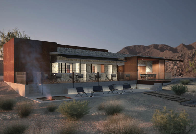 Rendering of Fossil Rock Lodge at the Mleiha Archaeological and Eco-tourism project.