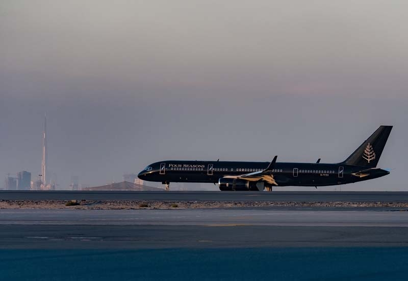 The Four Seasons Private Jet makes a touchdown at DWC Airport.