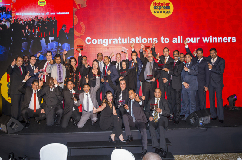The 2017 winners of the Hotelier Express Awards celebrate.