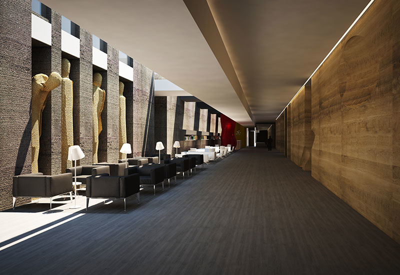 The lobby and reception area is meant to look like a museum gallery with art pieces throughout the hotel.
