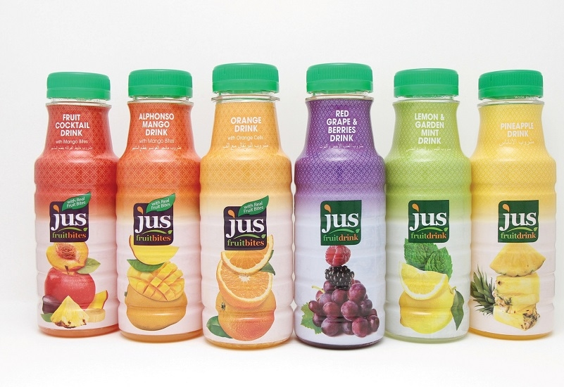 JUS fruit bites and fruit drinks.