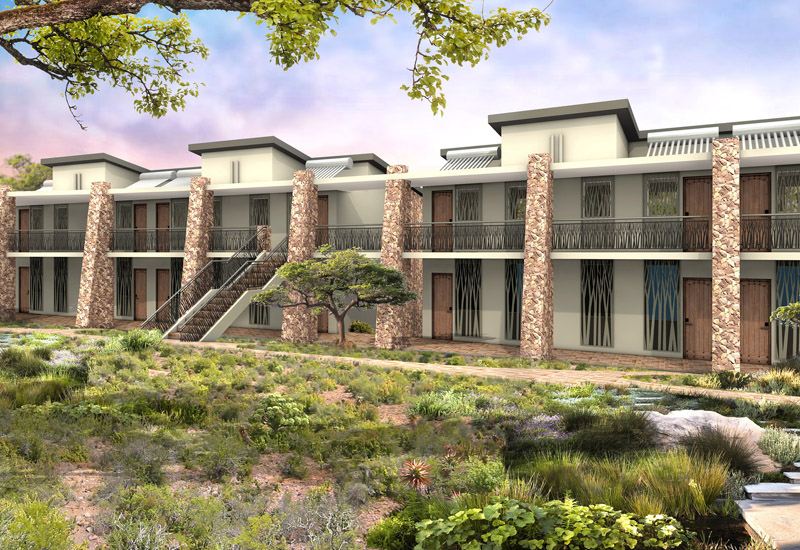 A rendering of an exterior view of the property.