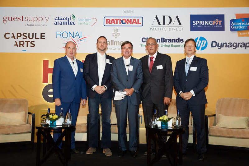 """The members of the panel discussion entitled """"Blurred Lines: Mid-scale Under Pressure"""" at the 2017 Hotelier Express Summit included (from left to right) Centro Sharjah general manager Michael Kasch; Aloft Al Ain general manager Andreas Plum; INHOCO CEO and panel moderator Rupprecht Queitsch; Al Khoory Hotels, hospitality division general manager Pierre Sokhon; and Time Oak Hotel & Suites Dubai general manager Guzman Muela."""