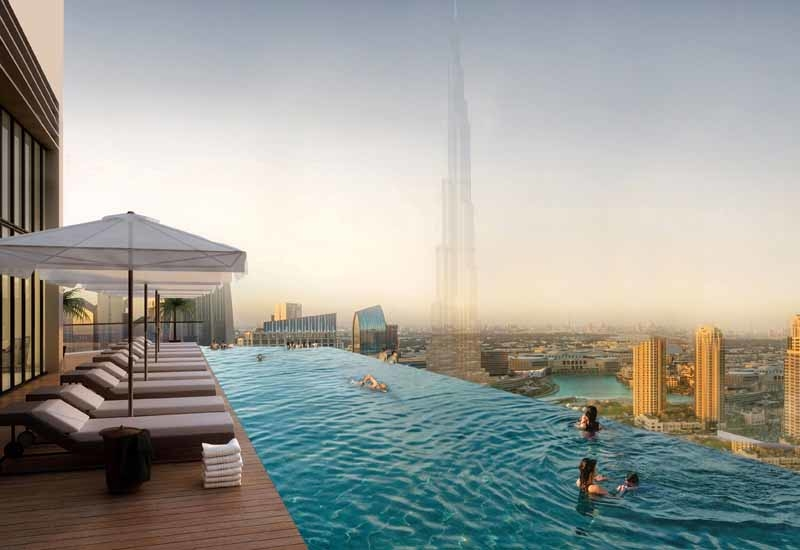 Infinity pool at the top of Paramount Hotel & Residences.