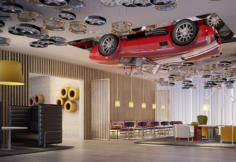 A vintage Ferrari will suspend from the hotel lobby's ceiling.