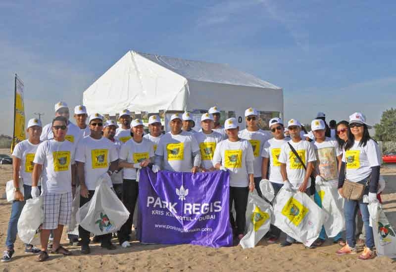 The hotel team at the clean up event.