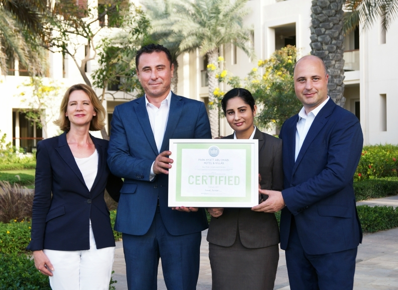 The Park Hyatt Abu Dhabi senior management team with the hotel's LEED certificate: hotel manager Doris Hecht, director of engineering Nedal Narmouq,engineering manager Renu Dabas and general manager Federico Mantoani.