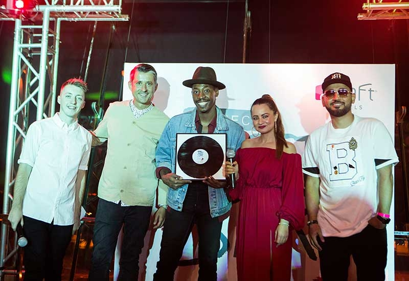 The UAEs Project: Aloft Star winner Stephon LaMar (centre) with (left to right) Virgin Radios James, Sony Music Entertainment Middle East general manager Mike Fairburn, Maz from Virgin Radio and DJ Bliss at Aloft Abu Dhabi.