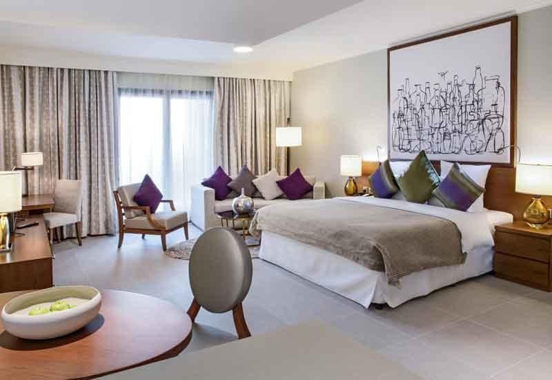 A studio room at Pullman Dubai City Centre Residences.