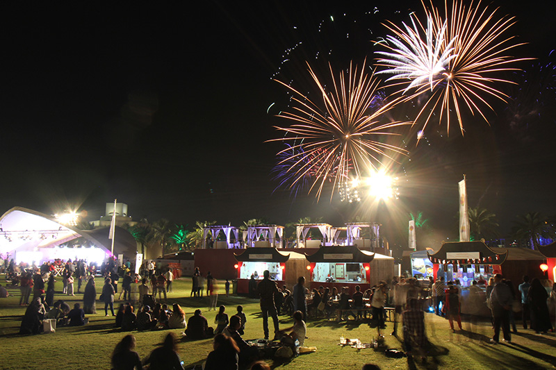 Fireworks are held every evening at 8 pm for the duration of the Qatar International Food Festival. Image courtesy of QIFF.