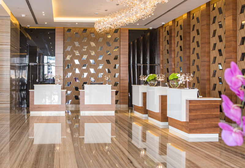 Radisson Blu Hotel, Dubai Waterfront lobby.