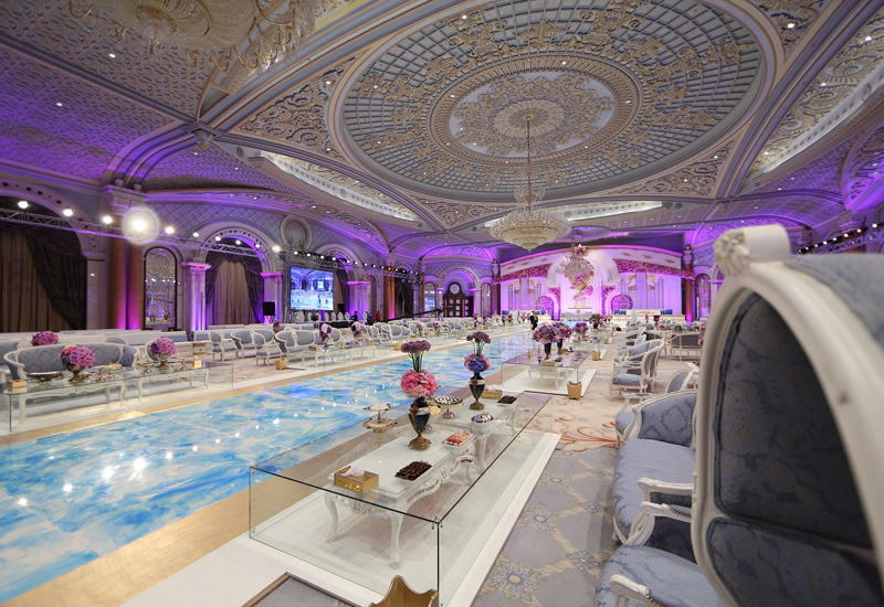 The two ballrooms feature crystal chandeliers as their focal point and tailor-made carpets.