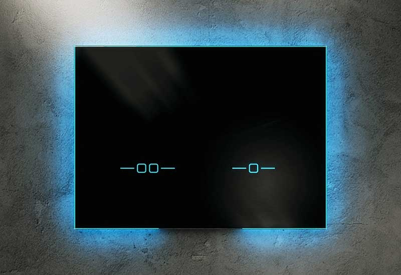 The Ineo Scop flush plate by Sanit features an unconventional glass plate and integrated light.