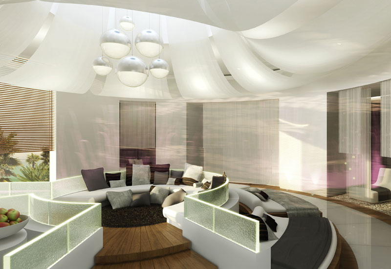 Relaxation area and spa interior by Barr+Wray.