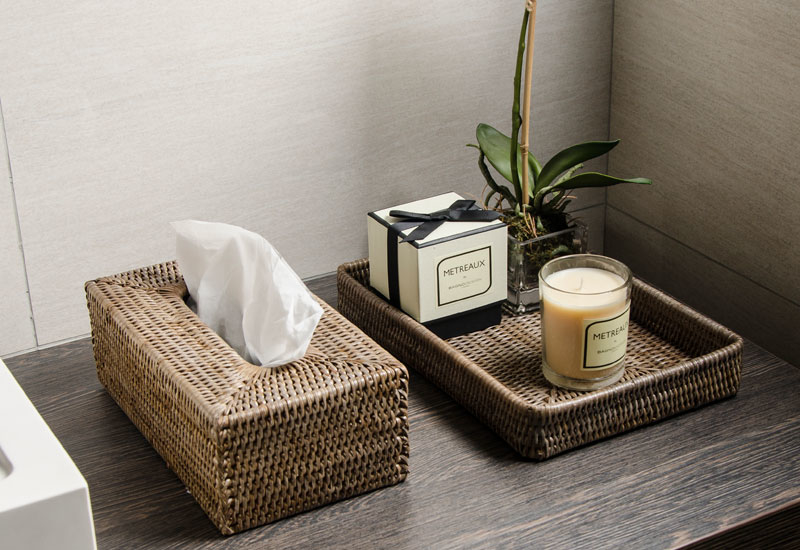 The Wellness collection by Bagnodesign includes a wide range of rattan accessories.