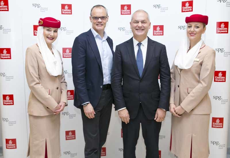 Starwood's Frits Van Paasschen and Emirates' Thierry Antinori at the launch of Your World Rewards in Dubai.