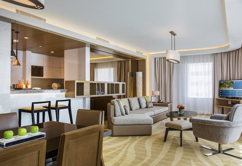 The 180 sqm three bedroom apartment includes a living room.