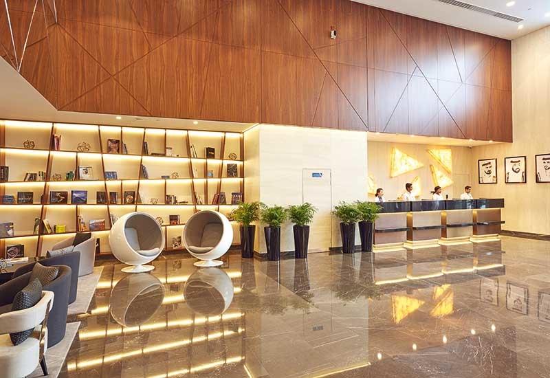 The lobby of Tryp by Wyndham, Dubai.