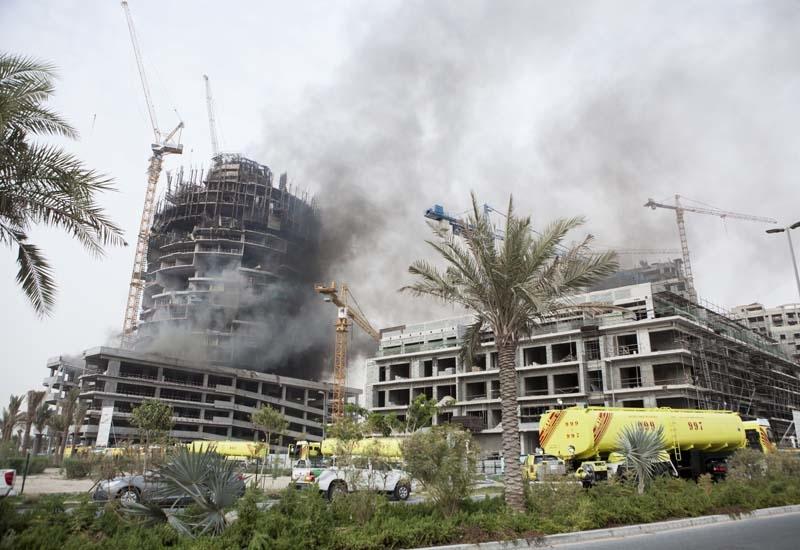 The Viceroy Dubai Jumeirah Village on fire on August 6.