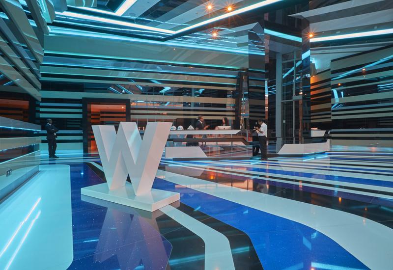 The entrance of the W Dubai.