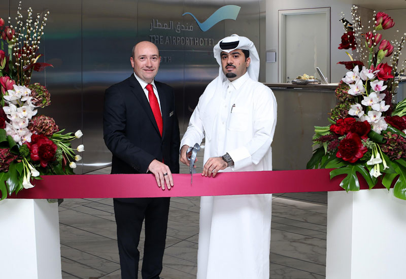 The Airport Hotel general manager Philippe Anric Hamad International Airport COO Badr Al Meer at the official opening of the hotel.