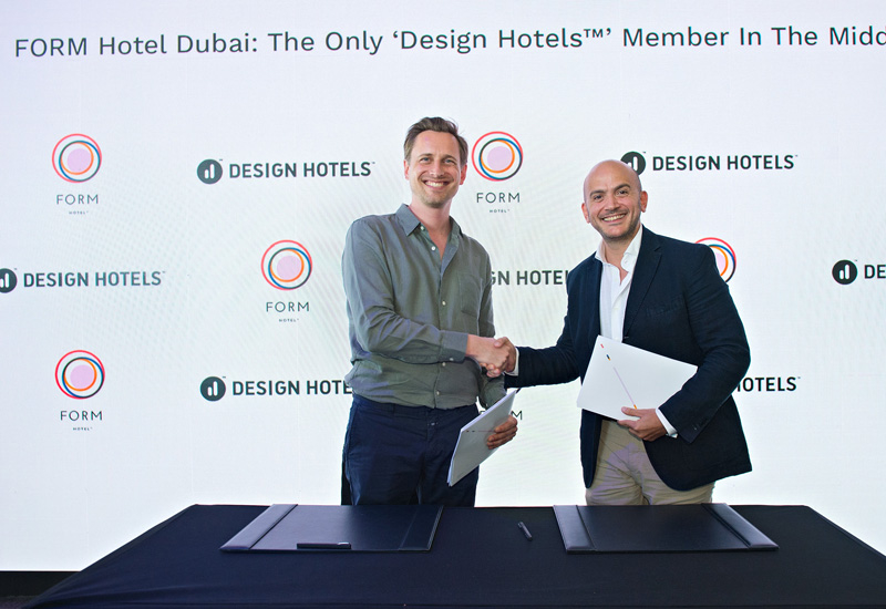Kai Simon, head of PR for Design Hotels (Left) and Tarek M. Daouk managing partner of Smarthotels Hospitality and CEO of Form Hotel Dubai (Right).