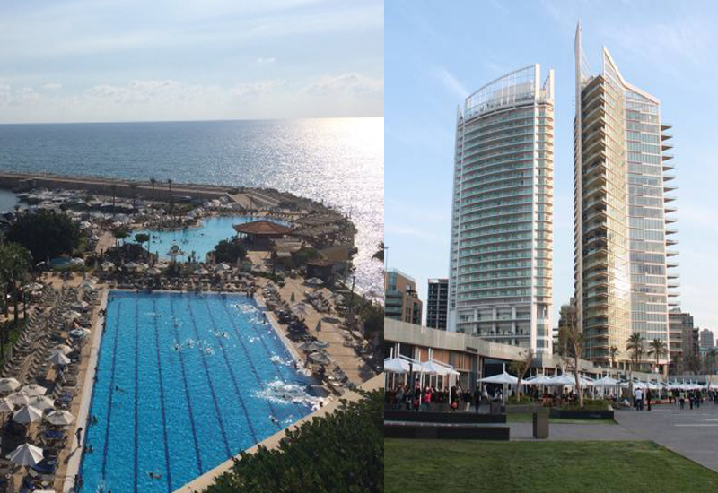 Movenpick Beirut (LEft) and Four Seasons Beirut (right).