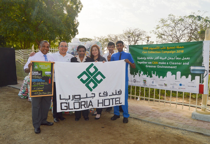 Gloria Hotels contributes 50 Kgs of cans for recycling this year.
