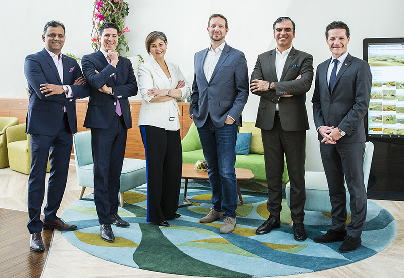 (From L-R) Siddhartha Sattanathan, General Manager, Radisson Blu Hotel Ajman; Omar Souab, General Manager, Fairmont Fujairah Beach Resort; Patria Puyat, General Manager, Holiday Inn Dubai Festival City; Andreas Plum, General Manager, Aloft Al Ain; Samir Arora, General Manager, The Retreat Palm Dubai MGallery by Sofitel and Olivier R. Harnisch, Chief Executive Officer, Emaar Hospitality Group.