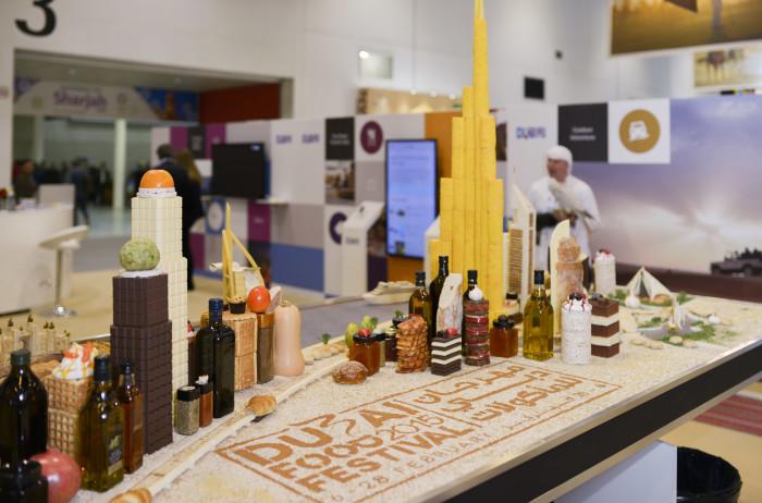 The Dubai skyline, made entirely of food