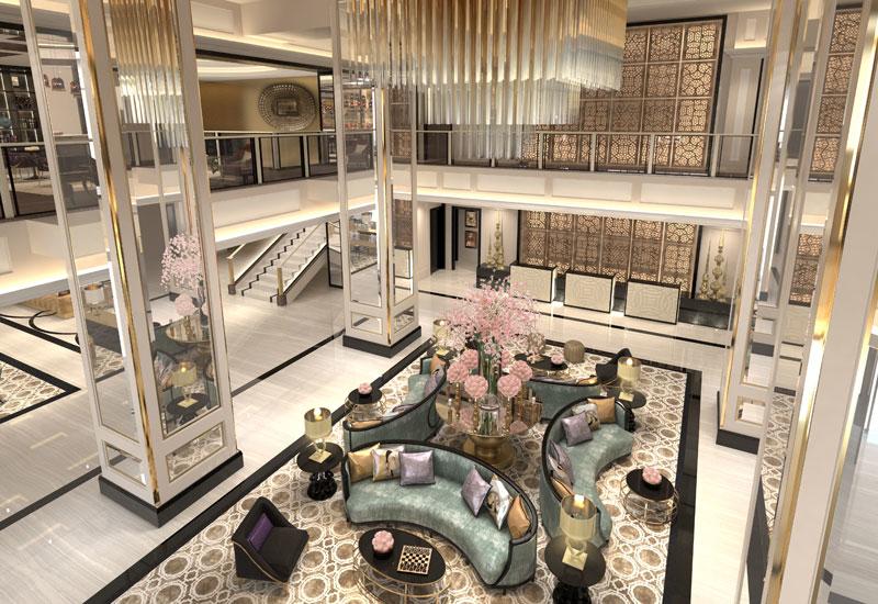 A rendering of the lobby of Taj Dubai