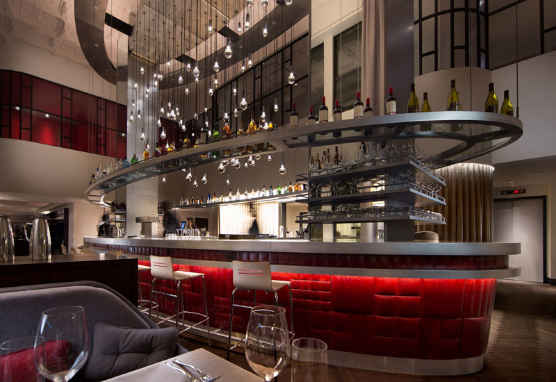 The Commons Club in Virgin Hotels Chicago, where guests can dine, drink, work and mingle