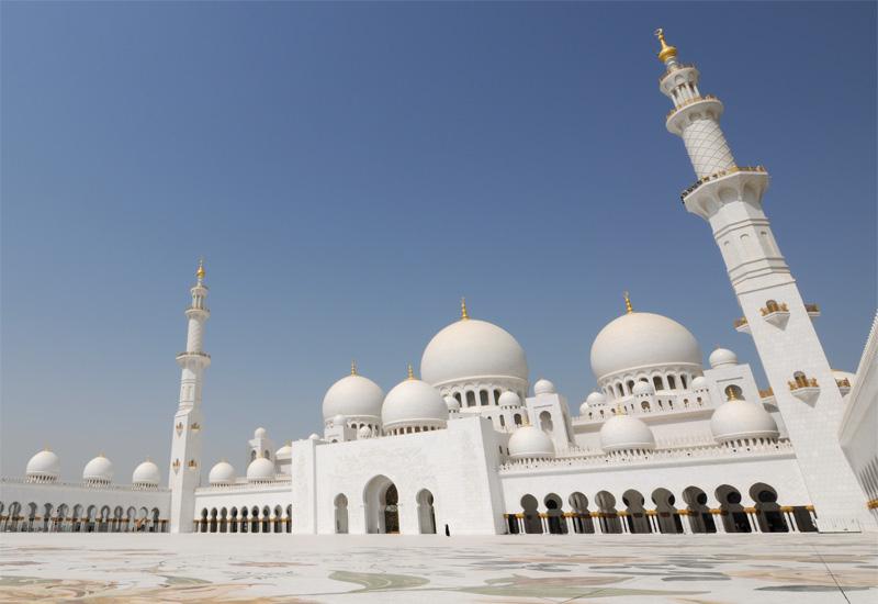 The Sheikh Zayed Grand Mosque in Abu Dhabi.