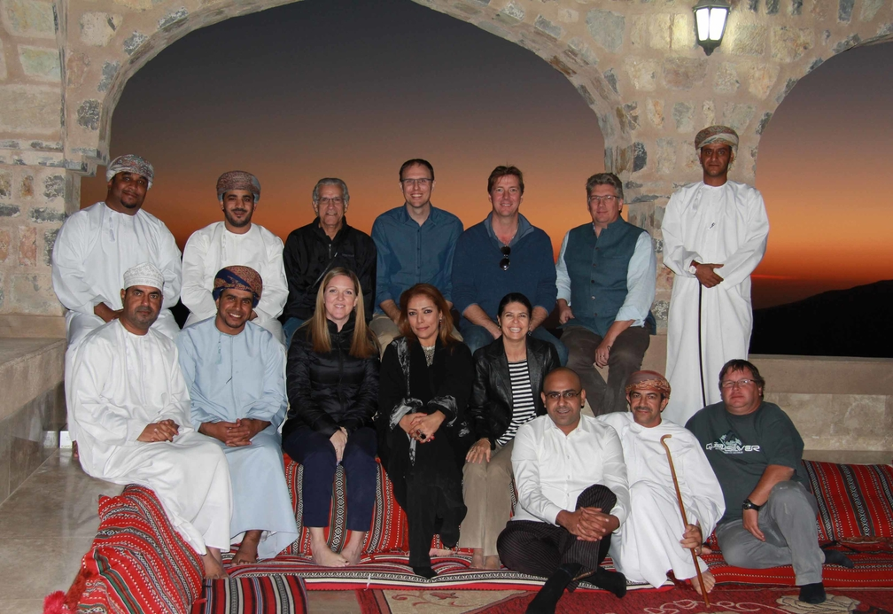 The Alila Hotels & Resorts senior management team meets with the local community in Jabal Akhdar, Oman.