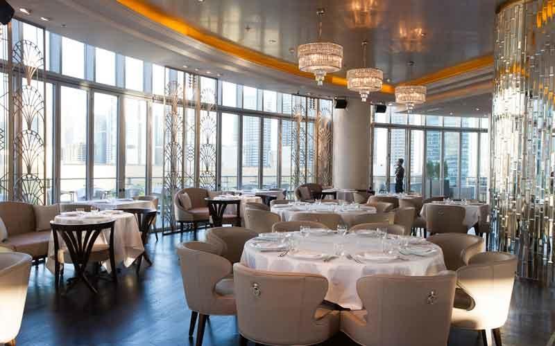 Atelier M occupies three levels in Dubai Marina's Pier 7 development.