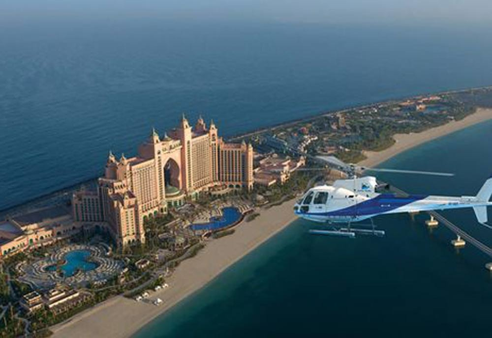 The Alpha Tours helicopter is thought to have crashed during take-off in the parking lot of the Atlantis Palm hotel.