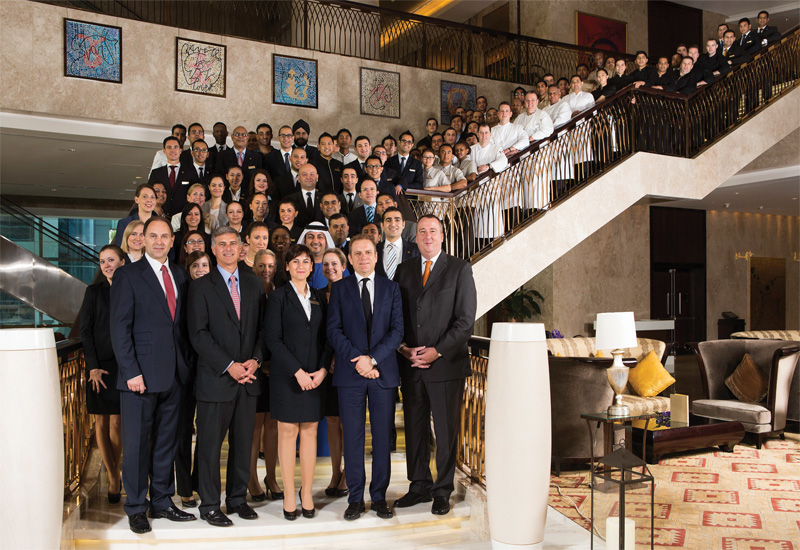 Chris Nassetta pictured alongside regional and Conrad Dubai hotel staff during his recent visit to Dubai.