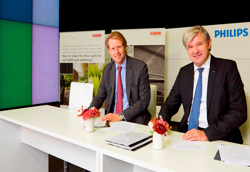 Desso chief executive officer Alexander Collot d'Escury Philips Lighting head of new business development Ivo Rutten.